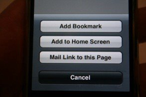 Add to Home Screen on iPhone OS 1.1.3.
