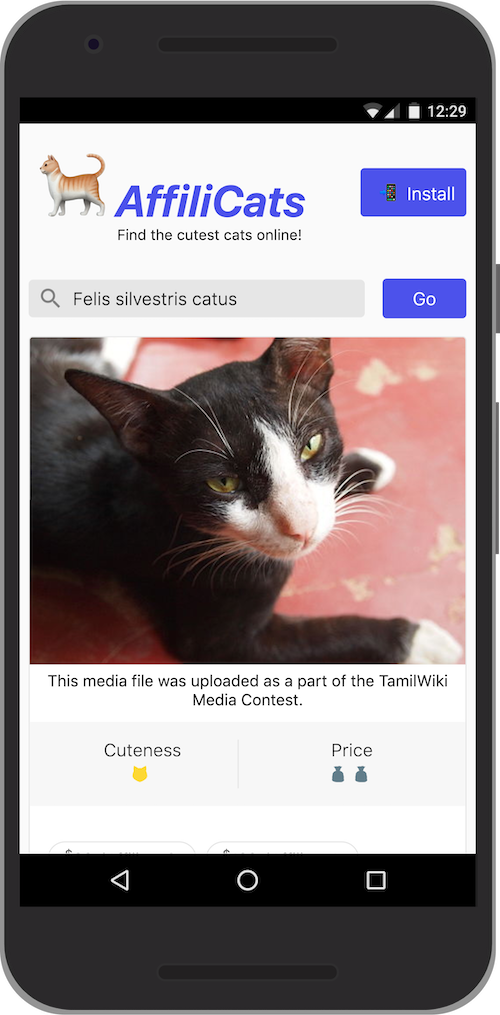 "🐈 AffiliCats with a customized ""Install"" button that only gets shown once the app engagement threshold has been reached."
