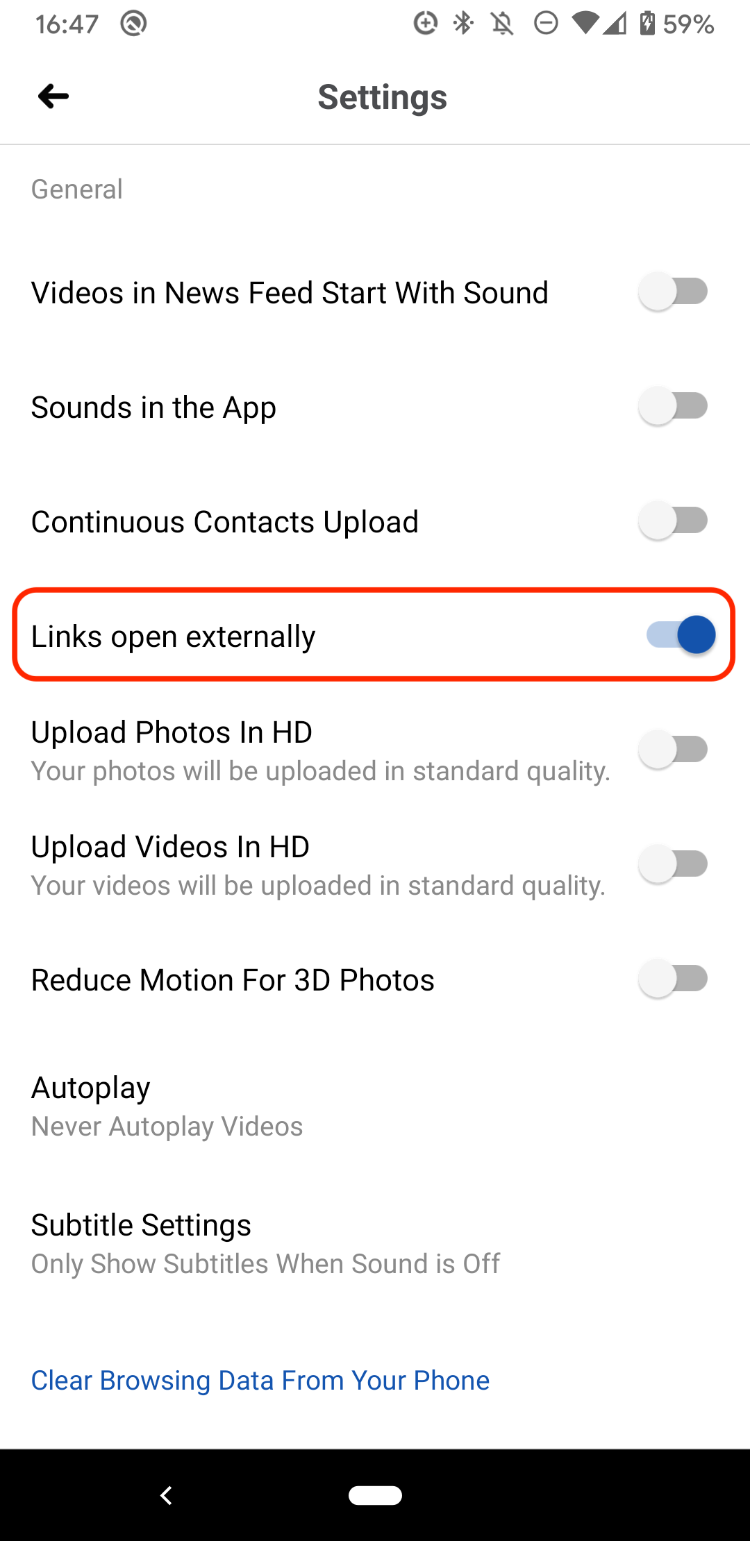 "Facebook Settings option: ""Links open externally"""